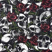 Baumwollstoff Totenköpfe Rosen, rot weiß schwarz