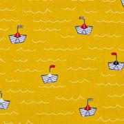 Baumwollstoff Papierschiffchen Wellen, ockergelb