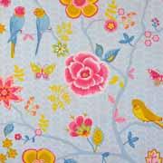 Baumwollstoff Blumen Vögel, hellblau