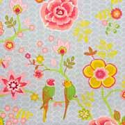 Baumwollstoff Blumen Vögel,  senfgelb grau