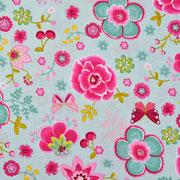 Baumwollstoff Blumen Kirschen Schmetterlinge, mint