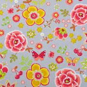 Baumwollstoff Blumen Kirschen Schmetterlinge,rot senfgelb grau
