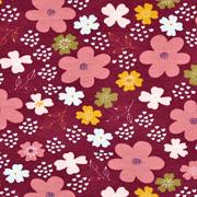 Jerseystoff Blumen, altrosa bordeaux