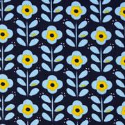 Baumwollstoff Blümchen beschichtet, hellblau ockergelb dunkelblau