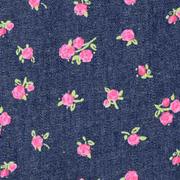 Jeansstoff Blümchen, rosa dunkelblau