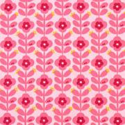 Baumwollstoff Blümchen beschichtet, rot rosa