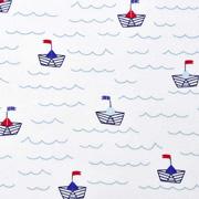 Baumwollstoff Papierschiffchen Wellen, dunkelblau weiß