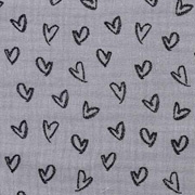 Musselin Stoff Herzen, schwarz grau