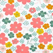 Jerseystoff Blumen, grün rosa weiß