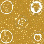 Baumwollstoff Katzen Hasen Kreise Punkte, weiß ockergelb