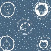 Baumwollstoff Katzen Hasen Kreise Punkte, weiß jeansblau