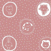 Baumwollstoff Katzen Hasen Kreise Punkte, weiß altrosa