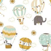 Baumwollstoff Elefanten Heißluftballons Wolken, ockergelb mint weiß