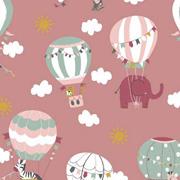 Baumwollstoff Elefanten Heißluftballons Wolken, mint weiß altrosa