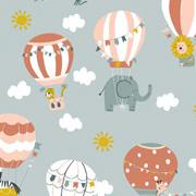 Baumwollstoff Elefanten Heißluftballons Wolken, weiß terracotta altmint