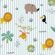 Baumwollstoff Löwen Nashörner Palmen Streifen, hellblau