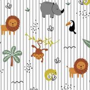 Baumwollstoff Löwen Nashörner Palmen Streifen, hellgrau