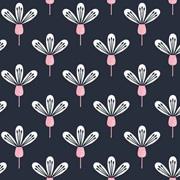 Baumwollstoff Blumen, rosa dunkelblau