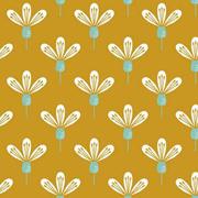 Baumwollstoff Blumen, mint ockergelb