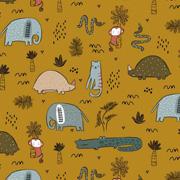 Jerseystoff Elefanten Krokodile Katzen, ockergelb