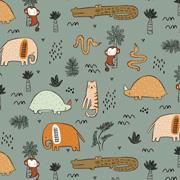 Jerseystoff Elefanten Krokodile Katzen, altmintgrün