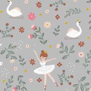 Soft Sweatstoff Ballerina Schwäne Blumen, mintgrün hellgrau