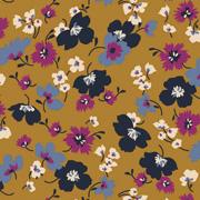 Modal Jerseystoff Blumen, navy beere ockergelb