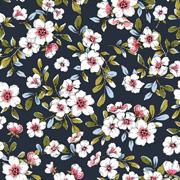 Modal Jerseystoff Blumen, rosa dunkelblau