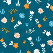 Baumwollstoff Blumen Zweige, orangegelb petrol