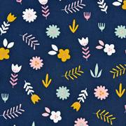 Baumwollstoff Blumen, rosa mint dunkelblau