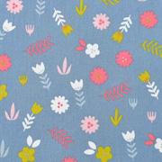 Baumwollstoff Blumen Zweige, pink jeansblau