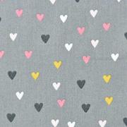 Baumwollstoff kleine Herzen, rosa grau