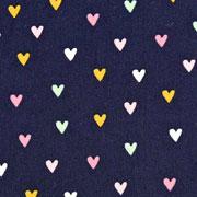 Baumwollstoff Herzen, rosa mint dunkelblau