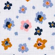 Musselin Stoff Blumen Bio-Baumwolle ,jeansblau ockergelb weiß