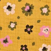 Musselin Stoff Blumen Bio-Baumwolle, pink khakigrün ockergelb