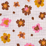 Musselin Stoff Blumen Bio-Baumwolle, pink ocker beige