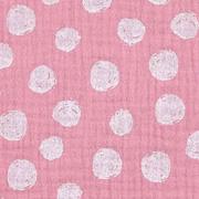 Musselin Stoff Punkte, weiß rosa