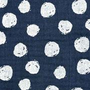 Musselin Stoff Punkte, weiß dunkelblau