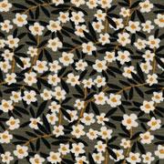 RESTSTÜCK 85 cm Viskose Stoff Blumen Blätter, hellrosa schwarz graubraun