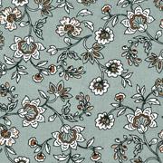 Viskose Stoff Blumenranken, weiß hellbraun altmint