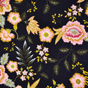 Baumwollstoff Blumen Paisley beschichtet, schwarz