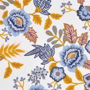 Baumwollstoff Blumen Paisley beschichtet, jeansblau weiß