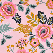 Baumwollstoff Blumen Paisley beschichtet, mint ockergelb rosa
