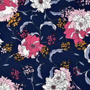 Viskose Twillstoff Blumen, weinrot rosa dunkelblau