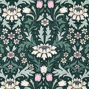 Viskose Stoff Blumen Tulpen Blätter, rosa weiß dunkelgrün