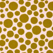 Baumwollstoff Punkte beschichtet, gelbgrün hellrosa