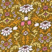 Viskose Stoff Blumen Tulpen Blätter, altrosa weiß ockergelb