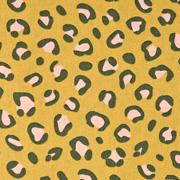 Baumwollstoff Leopardenmuster, dunkelgrau rosa ockergelb