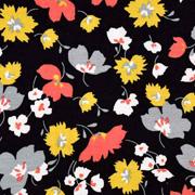 Modal Jerseystoff Blumen, schwarz