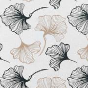 Canvas Stoff Ginkgoblätter Digitaldruck, dunkelgrün beige cremeweiß